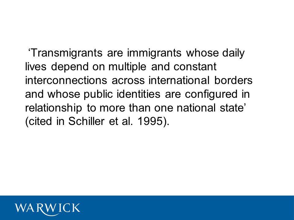 'By transnational spaces we mean relatively stable, lasting and dense sets of ties reaching beyond and across borders of sovereign states.