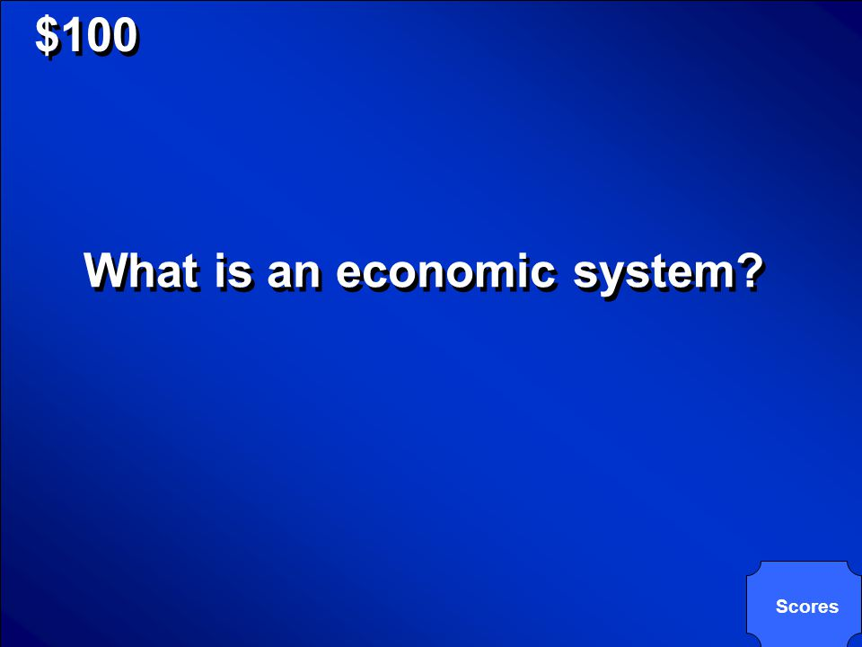 © Mark E. Damon - All Rights Reserved $100 A nation's plan for answering the key economic questions is known as this