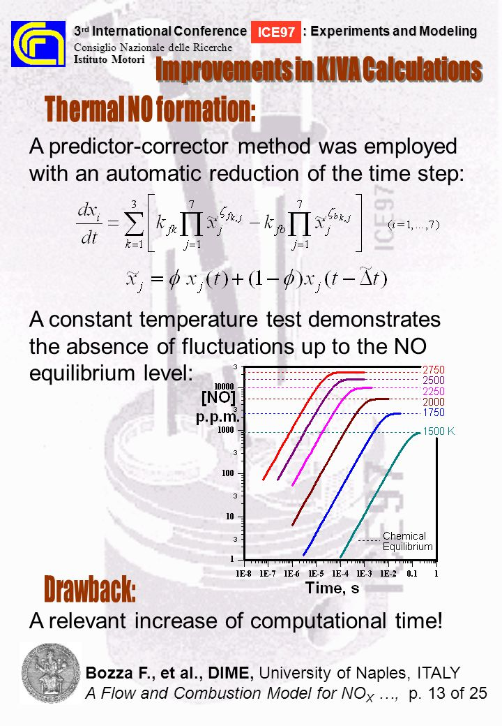 A predictor-corrector method was employed with an automatic reduction of the time step: A constant temperature test demonstrates the absence of fluctuations up to the NO equilibrium level: 3 rd International Conference : Experiments and Modeling Consiglio Nazionale delle Ricerche Istituto Motori ICE97 Bozza F., et al., DIME, University of Naples, ITALY A Flow and Combustion Model for NO X …, p.