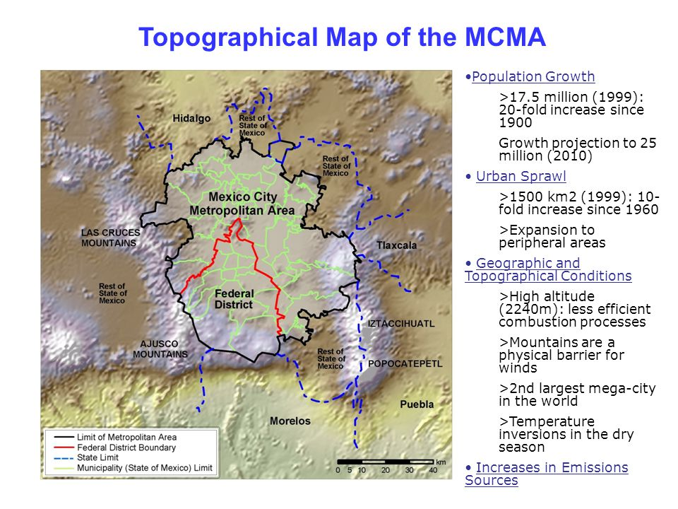 Topographical Map of the MCMA Population Growth >17.5 million (1999): 20-fold increase since 1900 Growth projection to 25 million (2010) Urban Sprawl