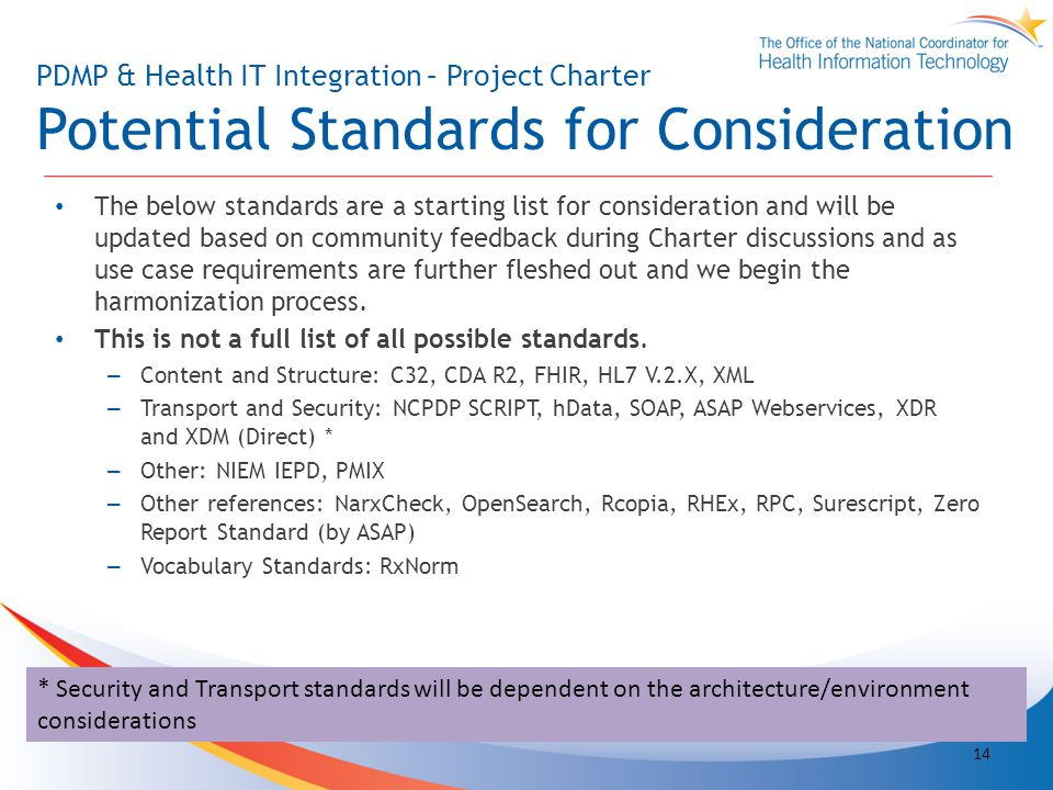 PDMP & Health IT Integration – Project Charter Potential Standards for Consideration The below standards are a starting list for consideration and will be updated based on community feedback during Charter discussions and as use case requirements are further fleshed out and we begin the harmonization process.