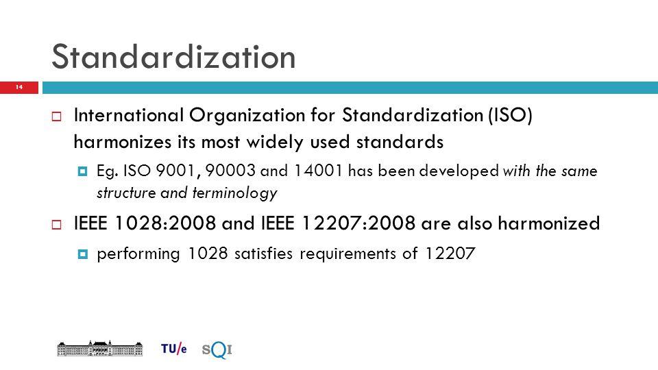 Standardization  International Organization for Standardization (ISO) harmonizes its most widely used standards  Eg. ISO 9001, 90003 and 14001 has b