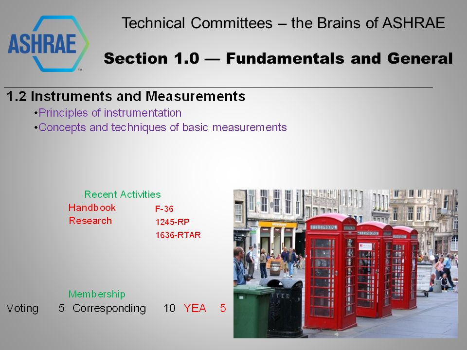 Technical Committees – the Brains of ASHRAE Section 6.0 Heating Equipment, Heating and Cooling Systems and Applications