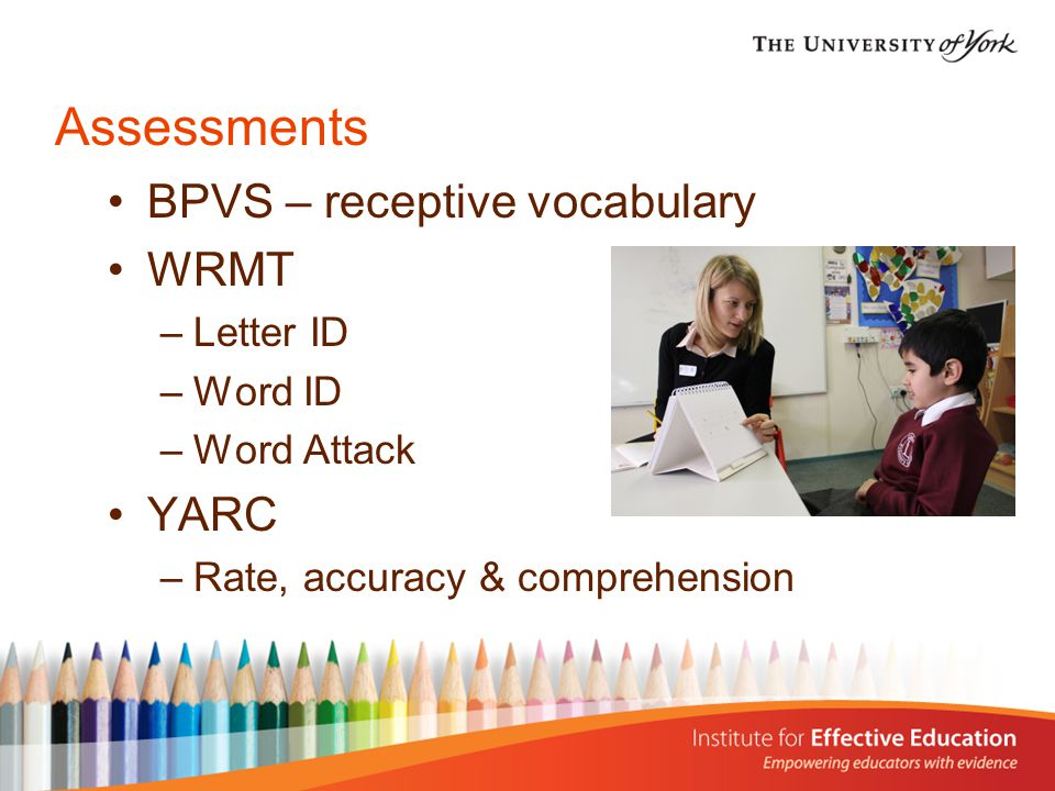 Assessments BPVS – receptive vocabulary WRMT –Letter ID –Word ID –Word Attack YARC –Rate, accuracy & comprehension