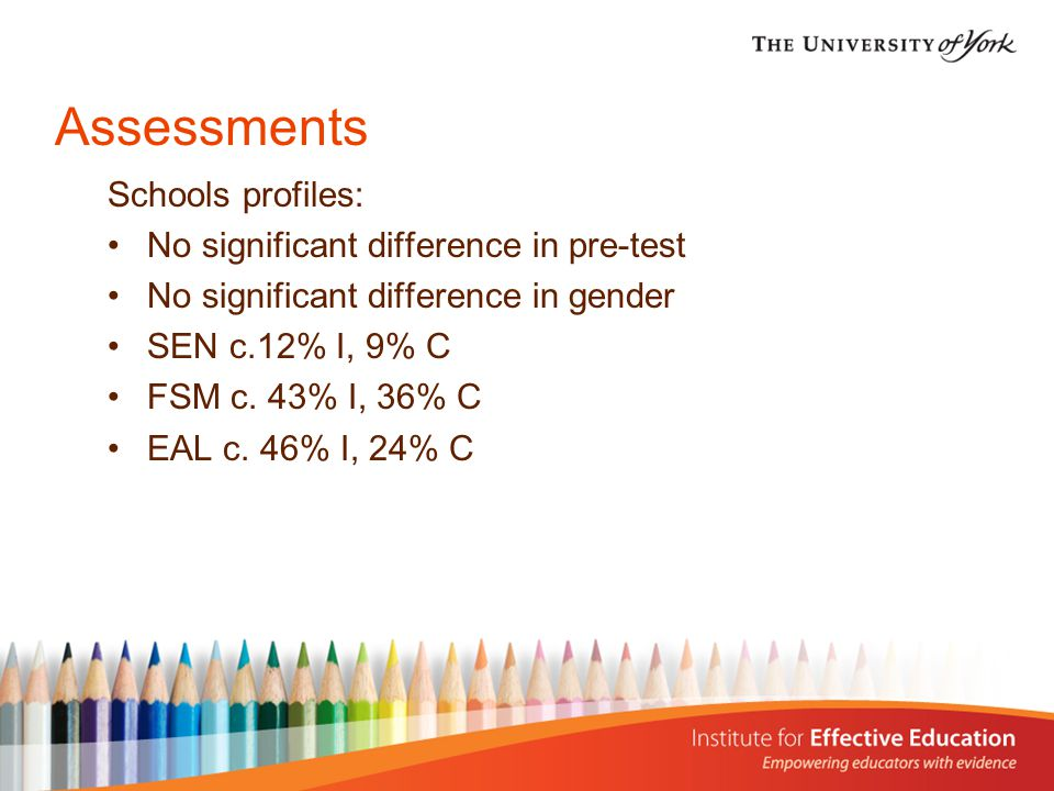 Assessments Schools profiles: No significant difference in pre-test No significant difference in gender SEN c.12% I, 9% C FSM c.