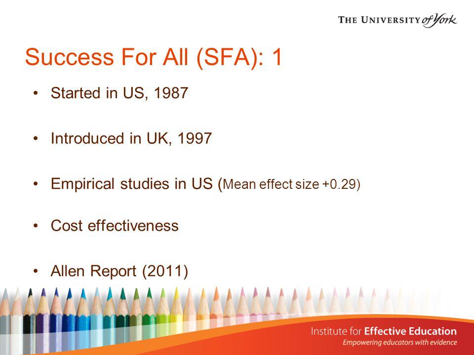 Success For All (SFA): 2 Professor Bette Chambers