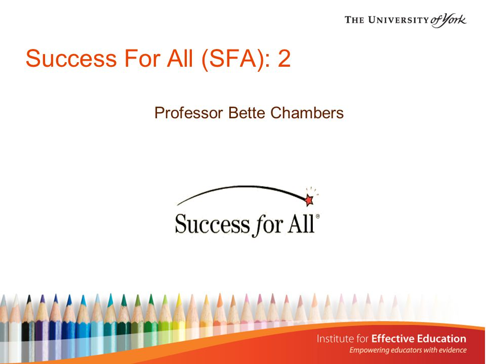 Background Success For All is a charitable foundation - a non- profit making organisation.