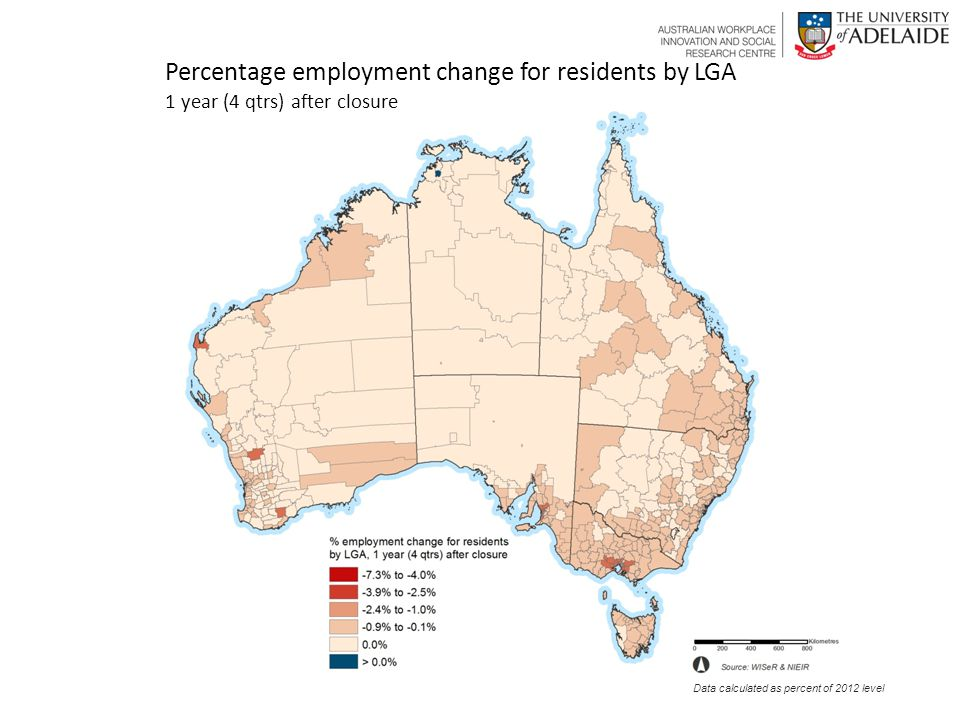 Percentage employment change for residents by LGA 1 year (4 qtrs) after closure Data calculated as percent of 2012 level