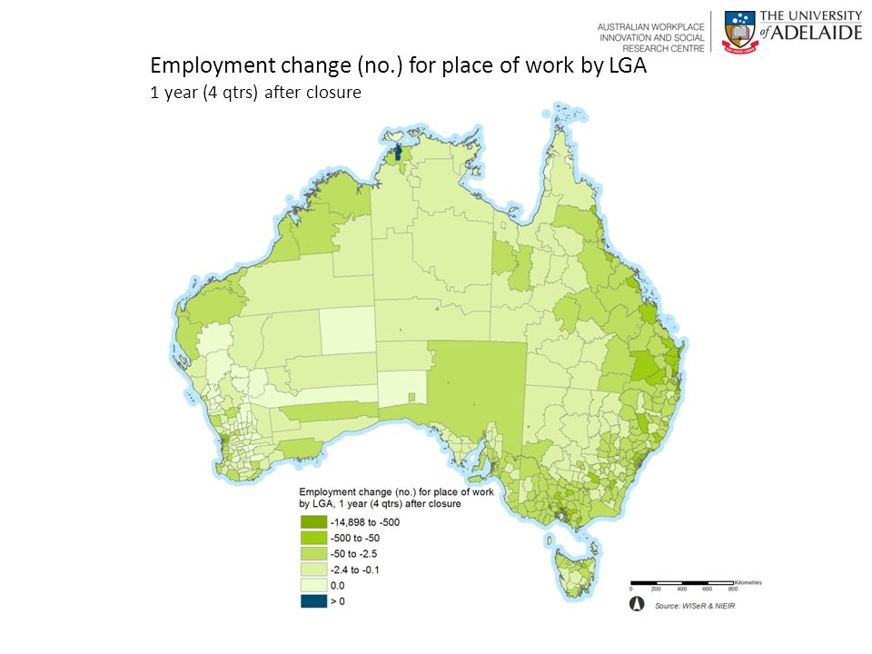 1 year (4 qtrs) after closure Employment change (no.) for place of work by LGA