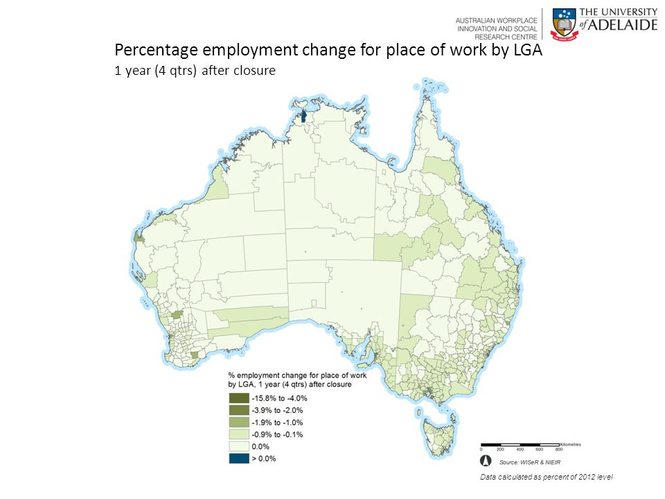 Percentage employment change for place of work by LGA 1 year (4 qtrs) after closure Data calculated as percent of 2012 level