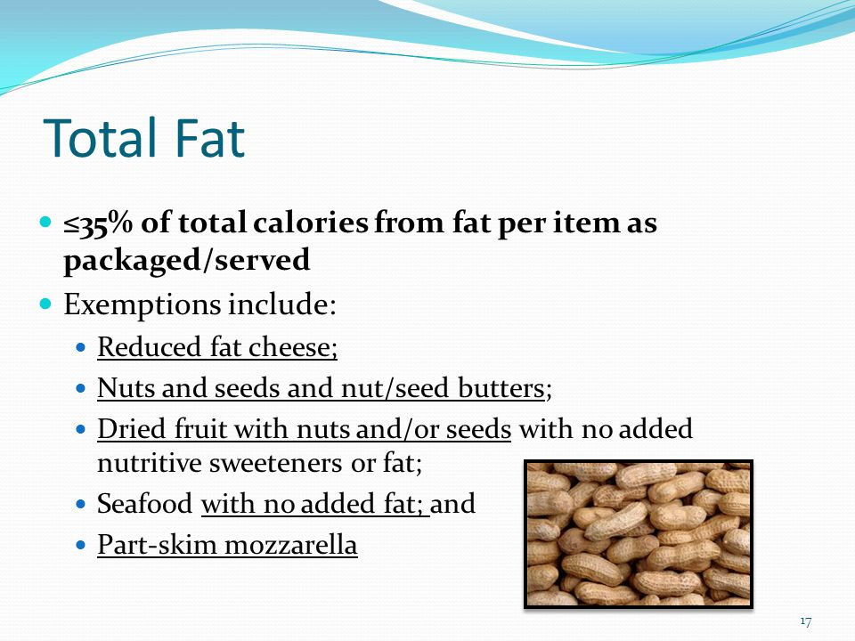 Total Fat ≤35% of total calories from fat per item as packaged/served Exemptions include: Reduced fat cheese; Nuts and seeds and nut/seed butters; Dri