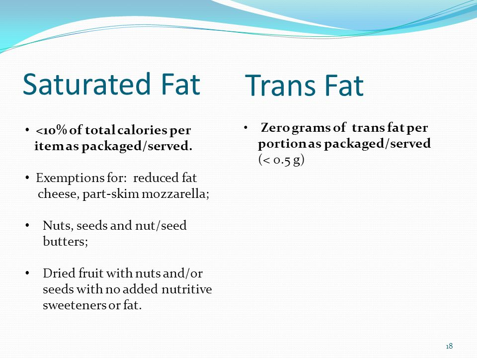 Saturated Fat Zero grams of trans fat per portion as packaged/served (< 0.5 g) 18 Trans Fat <10% of total calories per item as packaged/served. Exempt