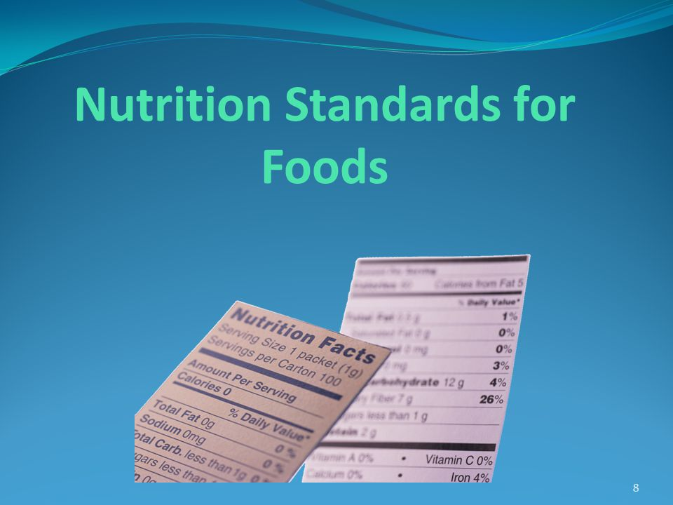 Standards for Foods Apply to All Grade Levels Include General Standards and Specific Nutrient Standards Provide exemptions to Nutrient Standards for Specific Foods Allow broader exemptions for fruits and vegetables and some NSLP/SBP foods 9