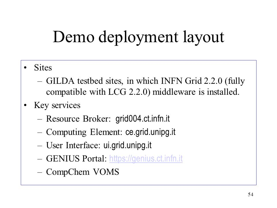54 Demo deployment layout Sites –GILDA testbed sites, in which INFN Grid 2.2.0 (fully compatible with LCG 2.2.0) middleware is installed.