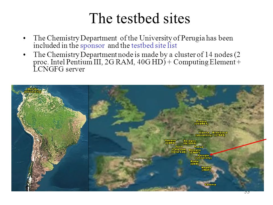 55 The testbed sites The Chemistry Department of the University of Perugia has been included in the sponsor and the testbed site list The Chemistry Department node is made by a cluster of 14 nodes (2 proc.