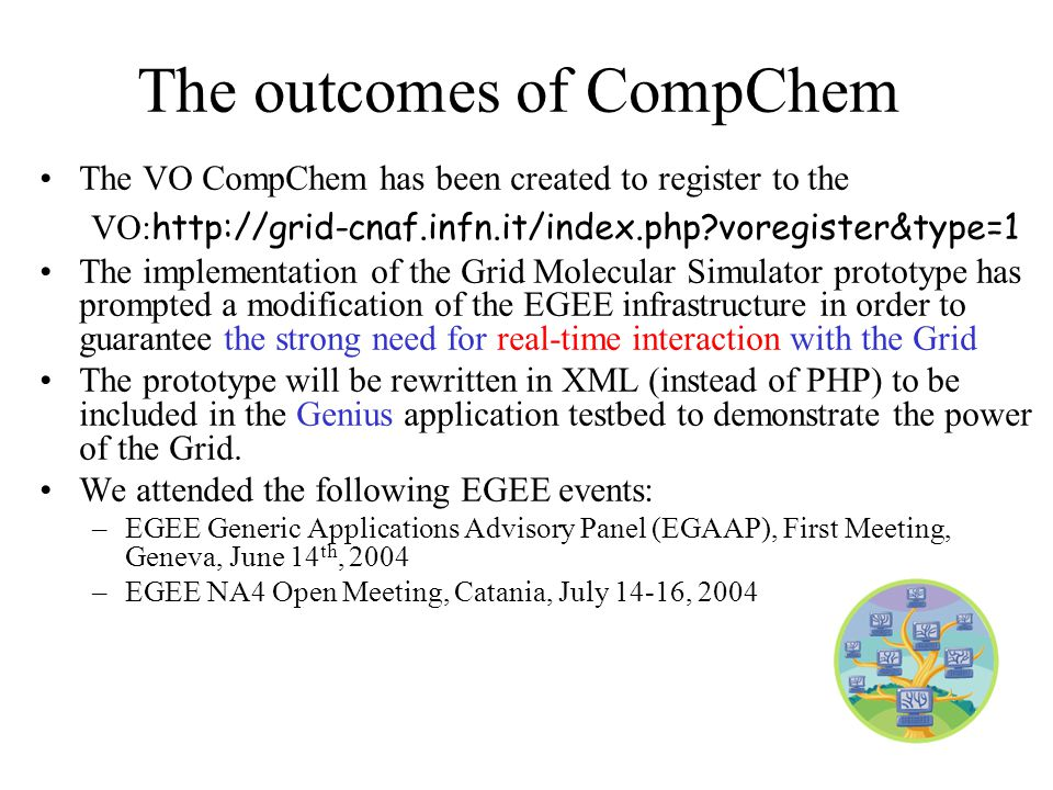65 The VO CompChem has been created to register to the VO: http://grid-cnaf.infn.it/index.php voregister&type=1 The implementation of the Grid Molecular Simulator prototype has prompted a modification of the EGEE infrastructure in order to guarantee the strong need for real-time interaction with the Grid The prototype will be rewritten in XML (instead of PHP) to be included in the Genius application testbed to demonstrate the power of the Grid.