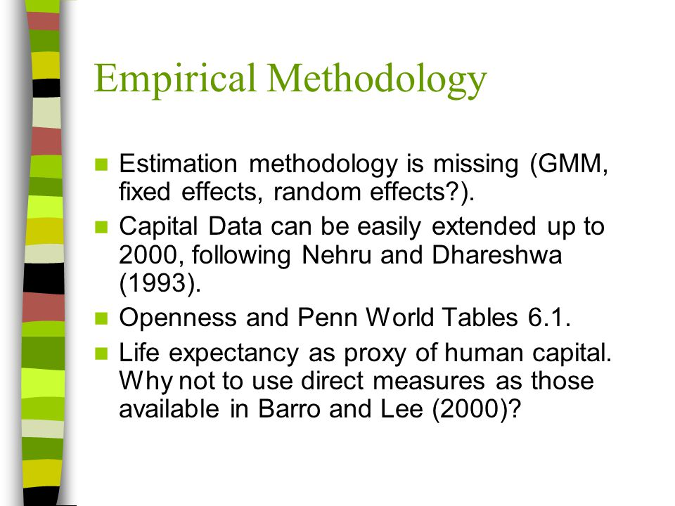 Empirical Methodology Estimation methodology is missing (GMM, fixed effects, random effects ).