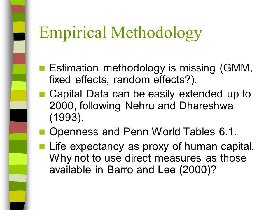 Empirical Methodology Some endogeneity issues.