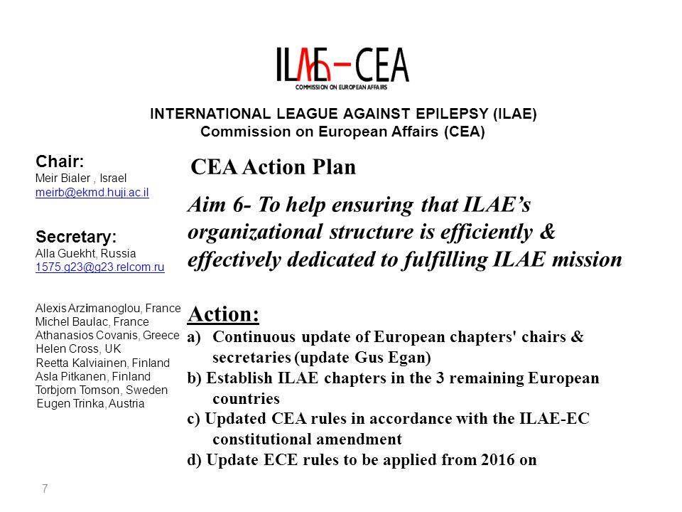 INTERNATIONAL LEAGUE AGAINST EPILEPSY (ILAE) Commission on European Affairs (CEA) Chair: Meir Bialer, Israel meirb@ekmd.huji.ac.il Secretary: Alla Guekht, Russia 1575.g23@g23.relcom.ru Alexis Arzimanoglou, France Michel Baulac, France Athanasios Covanis, Greece Helen Cross, UK Reetta Kalviainen, Finland Asla Pitkanen, Finland Torbjorn Tomson, Sweden Eugen Trinka, Austria CEA Election (2013-2017) a)The CEA chair is elected by the 44 European chapters in a non-weighted vote b)The elected CEA chair is the European regional VP on the ILAE-EC & the chair of the European Chapter Convention b) All current & previous CEA members are eligible candidates for chair unless they served 4 terms c) The Election of CEA members in a non-weighted vote takes place after the CEA chair election d) A CEA member can serve only two terms unless he/she becomes a CEA chair d) Four candidates are elected to the CEA in addition to the elected and past CEA chairs & two members nominated by the new ILAE President