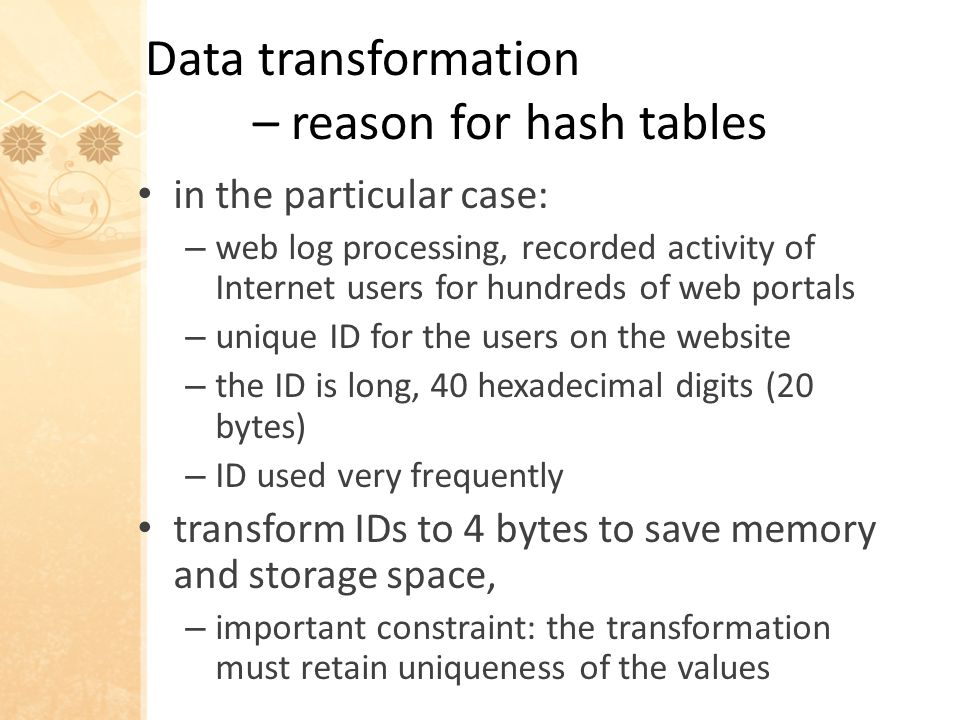 Hash tables in general – refined definitions open hashing: … all items are stored within the hash table (NIST) proposed definition: …only one item can be assigned to any slot of the hash table – more permissive item empty item ptr to item item