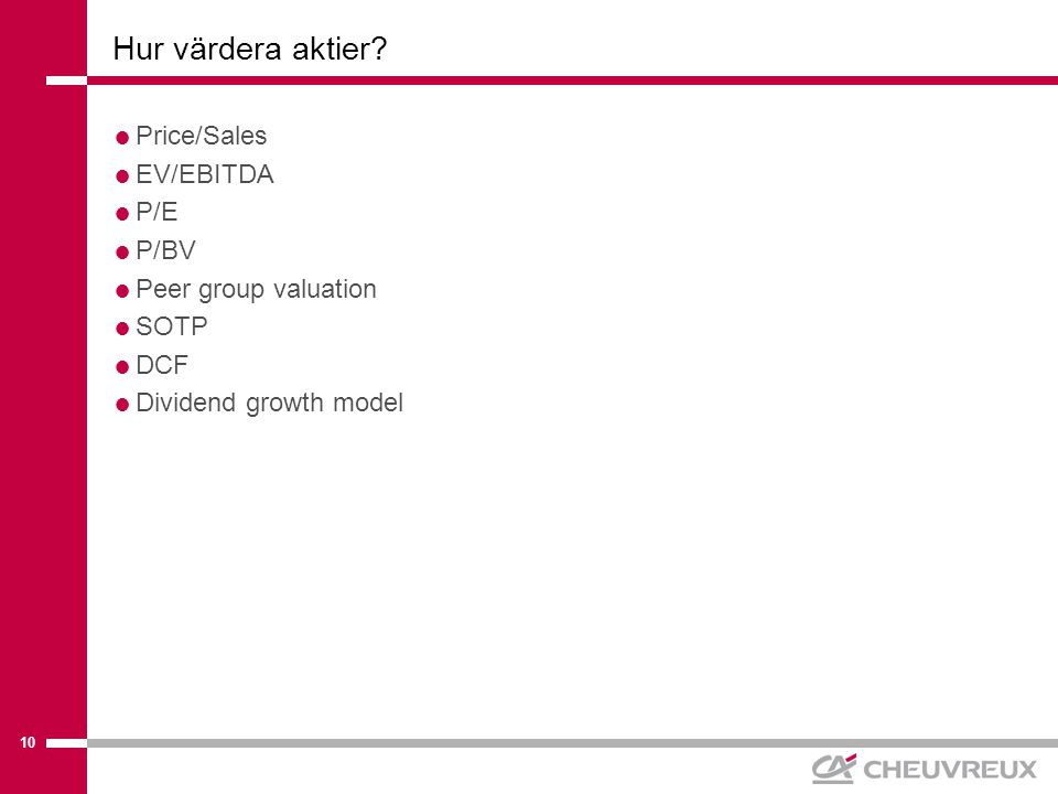 10 Hur värdera aktier.
