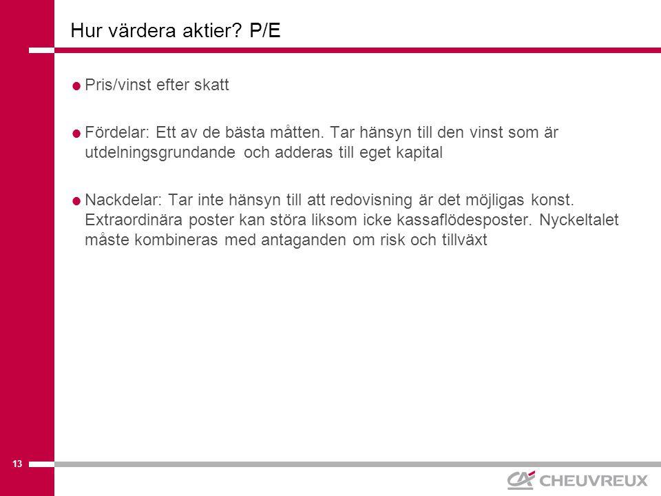 13 Hur värdera aktier. P/E  Pris/vinst efter skatt  Fördelar: Ett av de bästa måtten.
