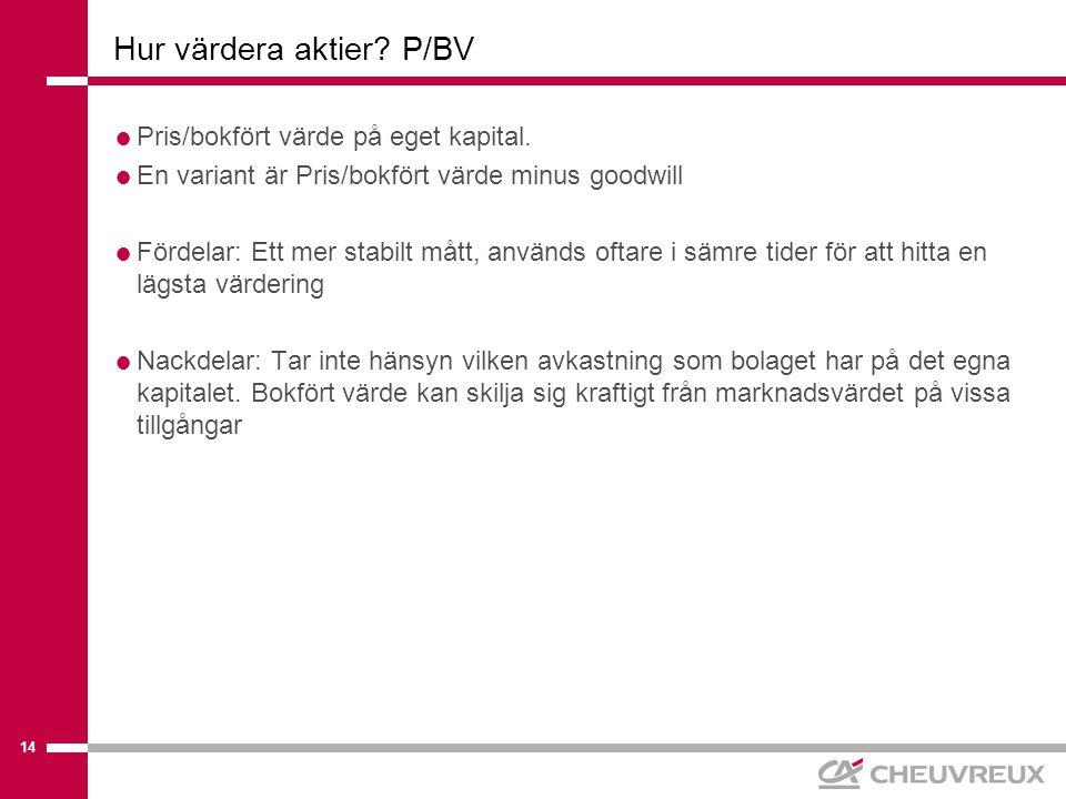 14 Hur värdera aktier. P/BV  Pris/bokfört värde på eget kapital.