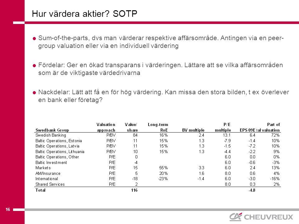 16 Hur värdera aktier. SOTP  Sum-of-the-parts, dvs man värderar respektive affärsområde.