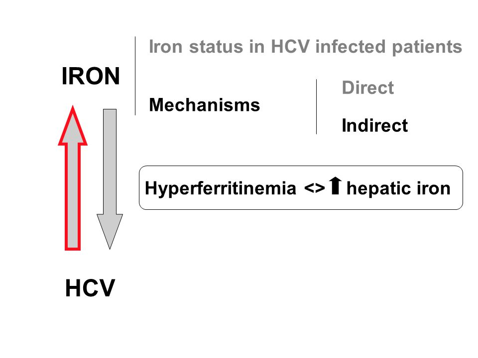 IRON HCV Iron status in HCV infected patients Mechanisms Direct Indirect Hyperferritinemia <> hepatic iron