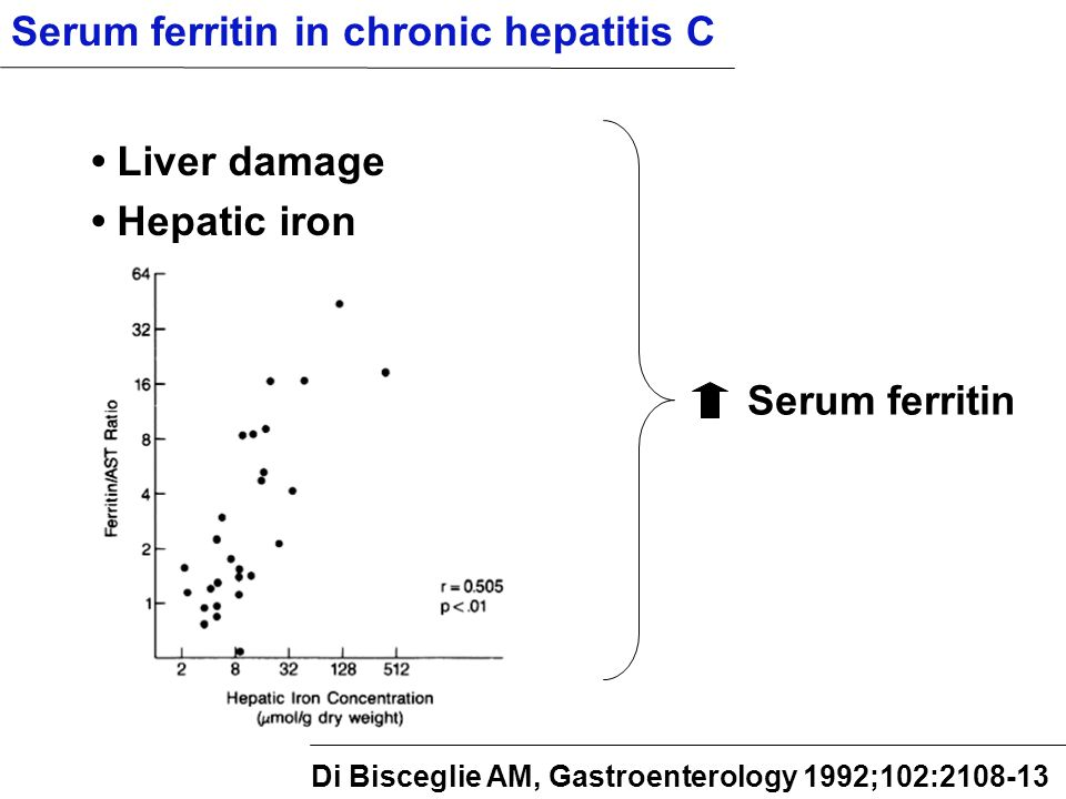 Serum ferritin Serum ferritin in chronic hepatitis C Liver damage Hepatic iron Di Bisceglie AM, Gastroenterology 1992;102:2108-13