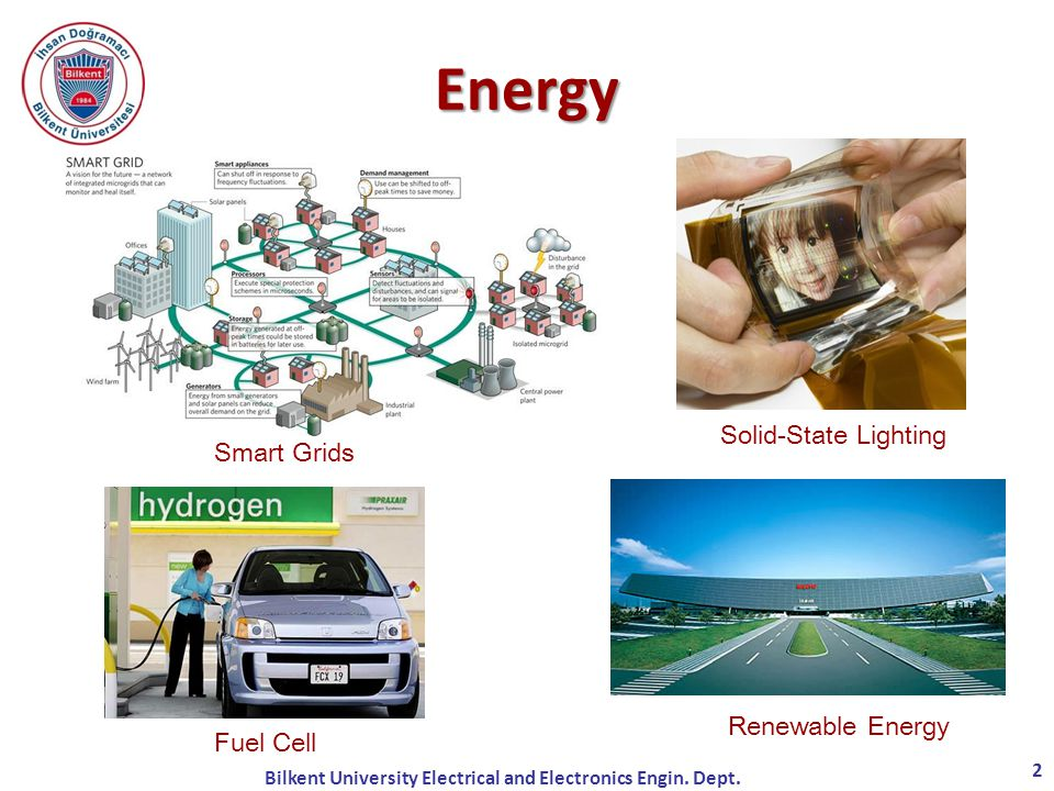 Smart Grids Solid-State Lighting Fuel Cell Renewable Energy Energy 2 Bilkent University Electrical and Electronics Engin.