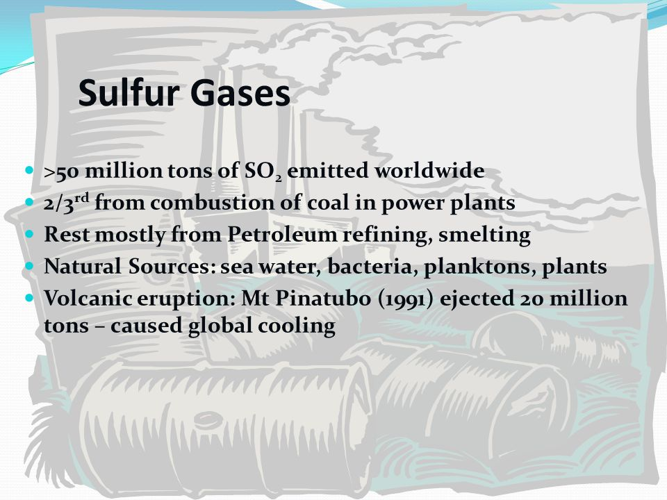 Sulfur Gases >50 million tons of SO 2 emitted worldwide 2/3 rd from combustion of coal in power plants Rest mostly from Petroleum refining, smelting N