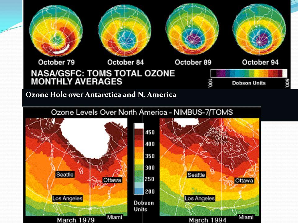 Ozone Hole over Antarctica and N. America