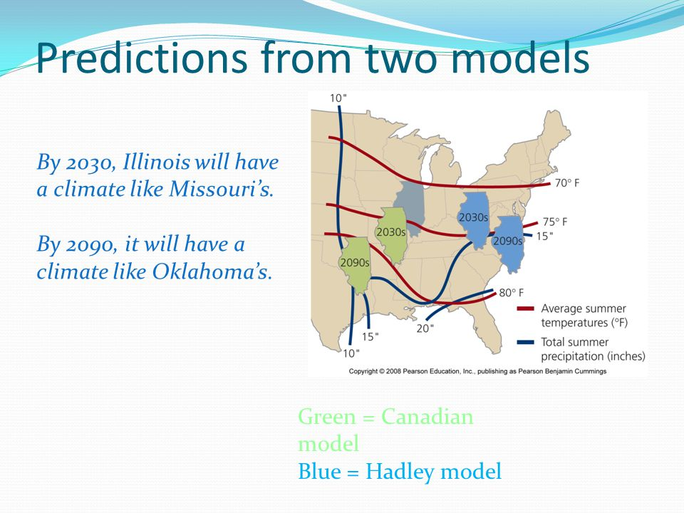 Predictions from two models By 2030, Illinois will have a climate like Missouri's. By 2090, it will have a climate like Oklahoma's. Green = Canadian m