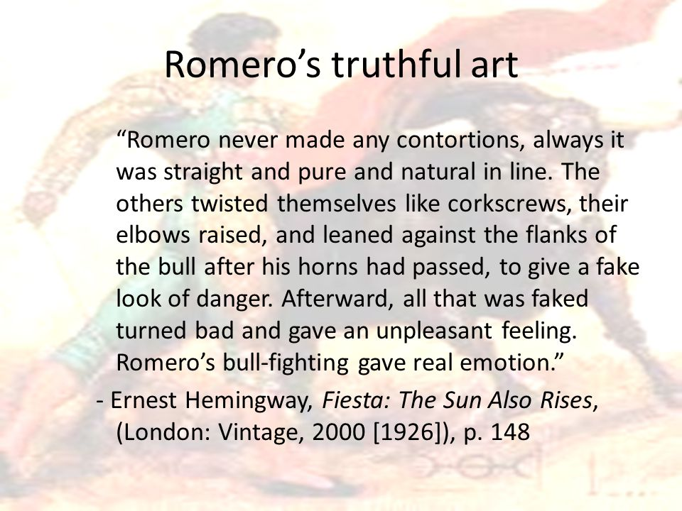 """Romero's truthful art """"Romero never made any contortions, always it was straight and pure and natural in line. The others twisted themselves like cork"""