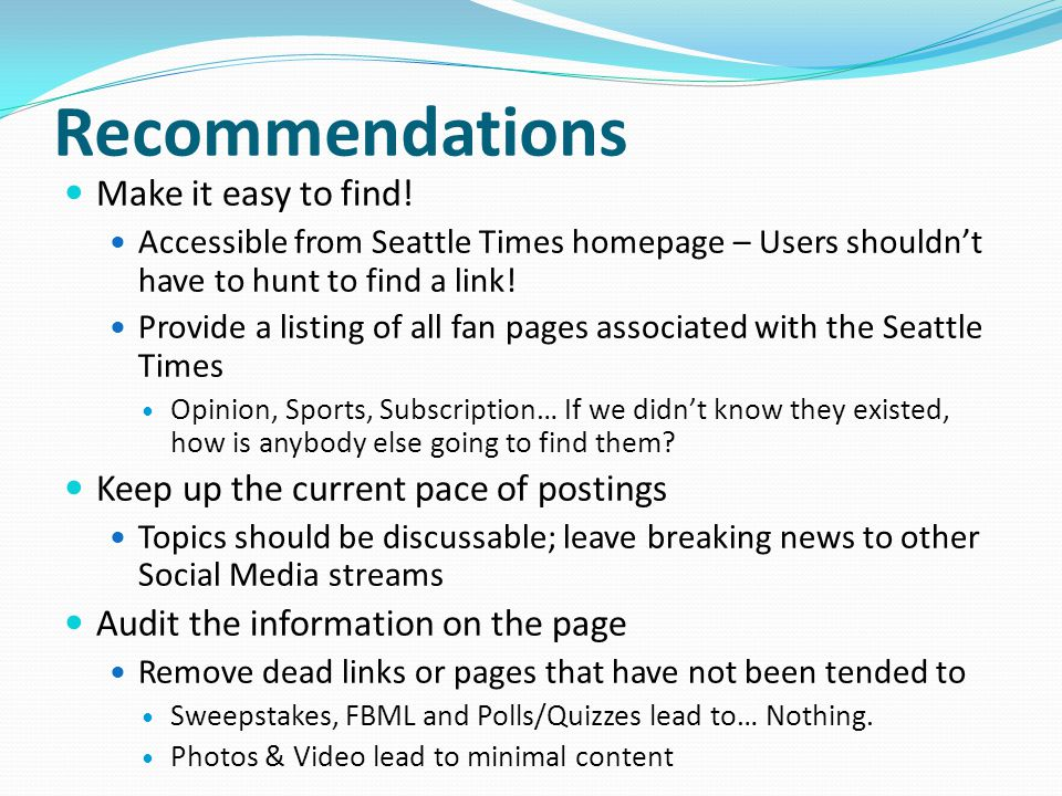 Recommendations Make it easy to find.