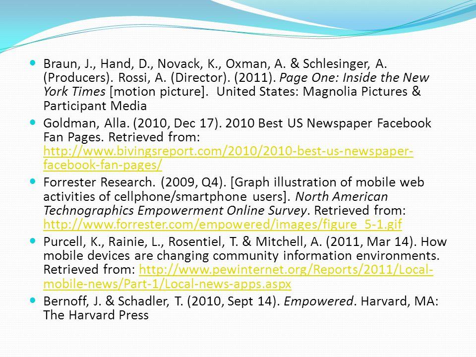 Braun, J., Hand, D., Novack, K., Oxman, A. & Schlesinger, A.