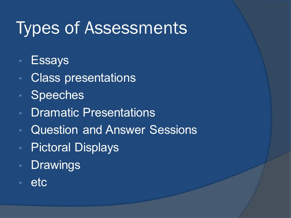 Types of Assessments Essays Class presentations Speeches Dramatic Presentations Question and Answer Sessions Pictoral Displays Drawings etc