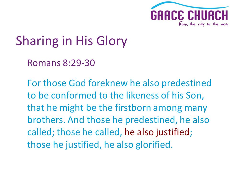 Sharing in His Glory Romans 8:29-30 For those God foreknew he also predestined to be conformed to the likeness of his Son, that he might be the firstb