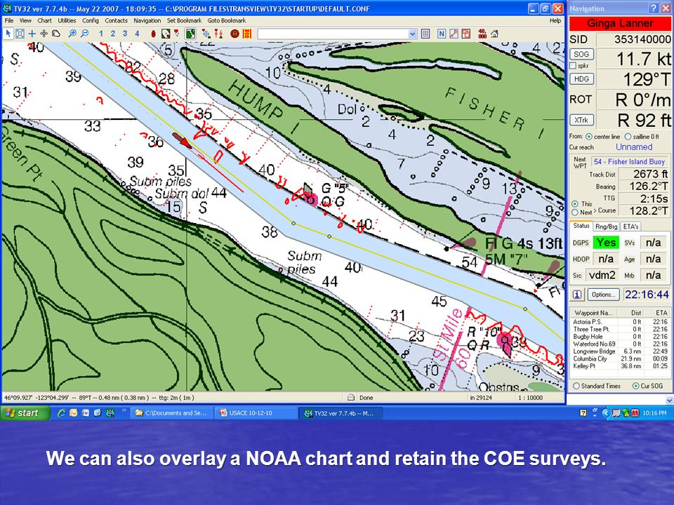 We can also overlay a NOAA chart and retain the COE surveys.