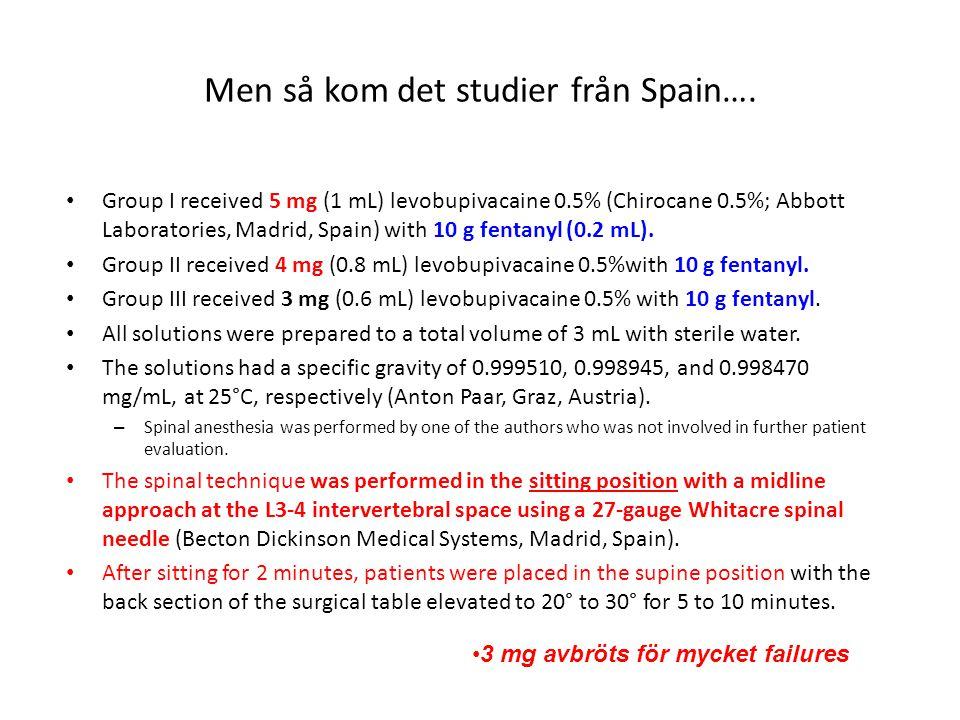 Men så kom det studier från Spain…. Group I received 5 mg (1 mL) levobupivacaine 0.5% (Chirocane 0.5%; Abbott Laboratories, Madrid, Spain) with 10 g f
