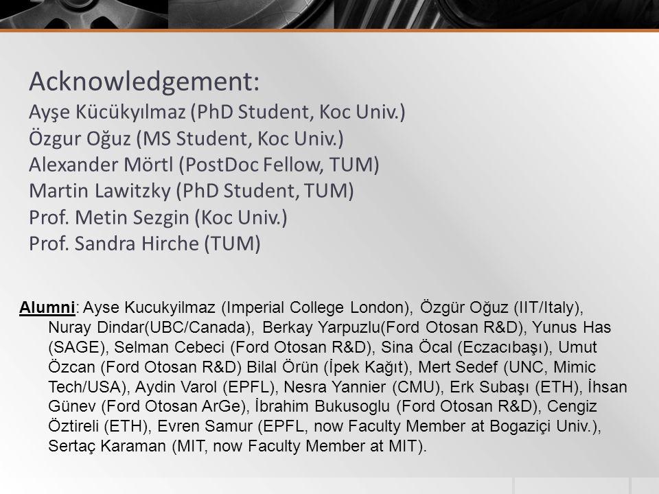 Acknowledgement: Ayşe Kücükyılmaz (PhD Student, Koc Univ.) Özgur Oğuz (MS Student, Koc Univ.) Alexander Mörtl (PostDoc Fellow, TUM) Martin Lawitzky (P