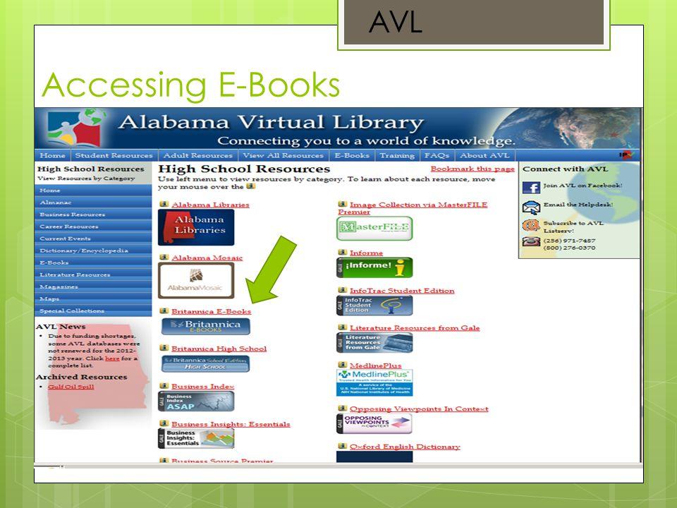 Accessing E-Books AVL