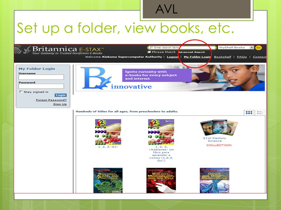 Set up a folder, view books, etc. AVL