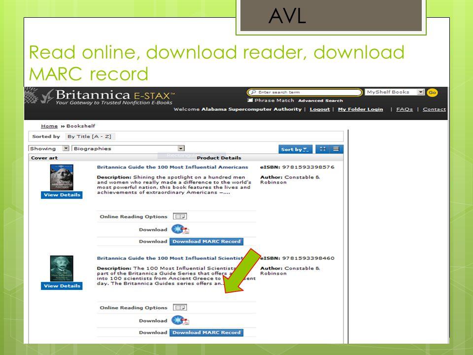 Read online, download reader, download MARC record AVL