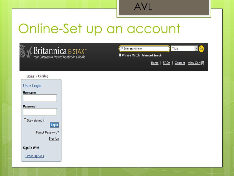 Online-Set up an account AVL