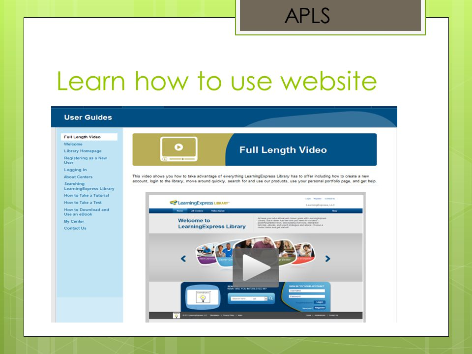 Learn how to use website APLS