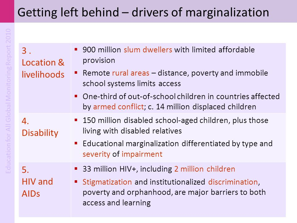 Education for All Global Monitoring Report 2010 3. Location & livelihoods  900 million slum dwellers with limited affordable provision  Remote rural