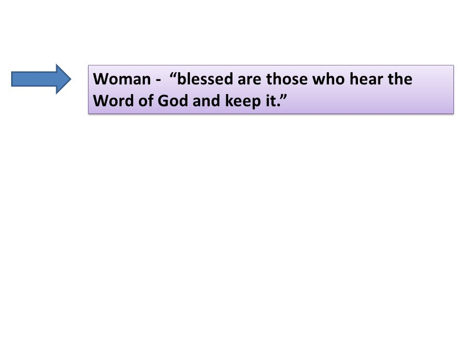 Woman - blessed are those who hear the Word of God and keep it.