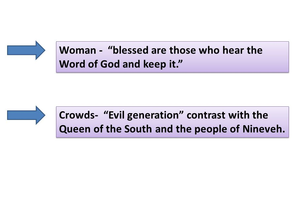 Crowds- Evil generation contrast with the Queen of the South and the people of Nineveh.